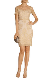 Notte by Marchesa Metallic lace dress