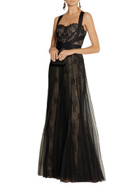 Notte by Marchesa Grosgrain-trimmed lace and tulle gown