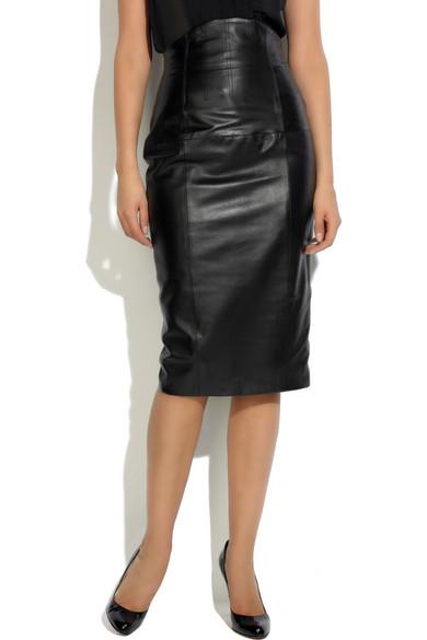 3e38f4750aa Black Pu Leather A Line Skirt. L Wren Scott