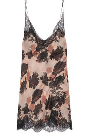 Carine Gilson Lace-trimmed printed silk-satin chemise