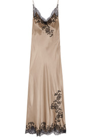 Carine Gilson Lace-trimmed silk-satin chemise