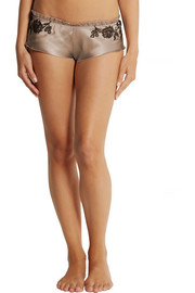 Carine Gilson Lace-trimmed silk-satin briefs