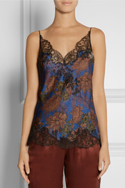 Carine Gilson Ukyo lace-trimmed printed silk-satin camisole