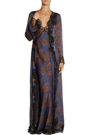Carine Gilson Ukyo lace-trimmed printed silk-satin robe