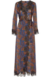 Ukyo lace-trimmed printed silk-satin robe
