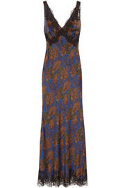 Carine Gilson Ukyo lace-trimmed printed silk-satin nightdress