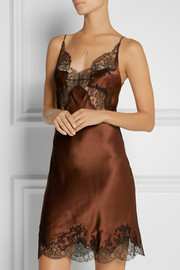 Lace-trimmed silk-satin chemise