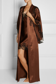 Carine Gilson Lace-trimmed silk-satin robe