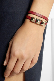 Valentino Cash & Rocket studded leather wrap bracelet