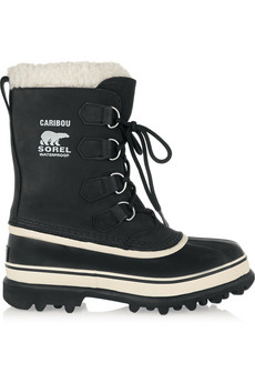 Caribou suede and waterproof rubber boots