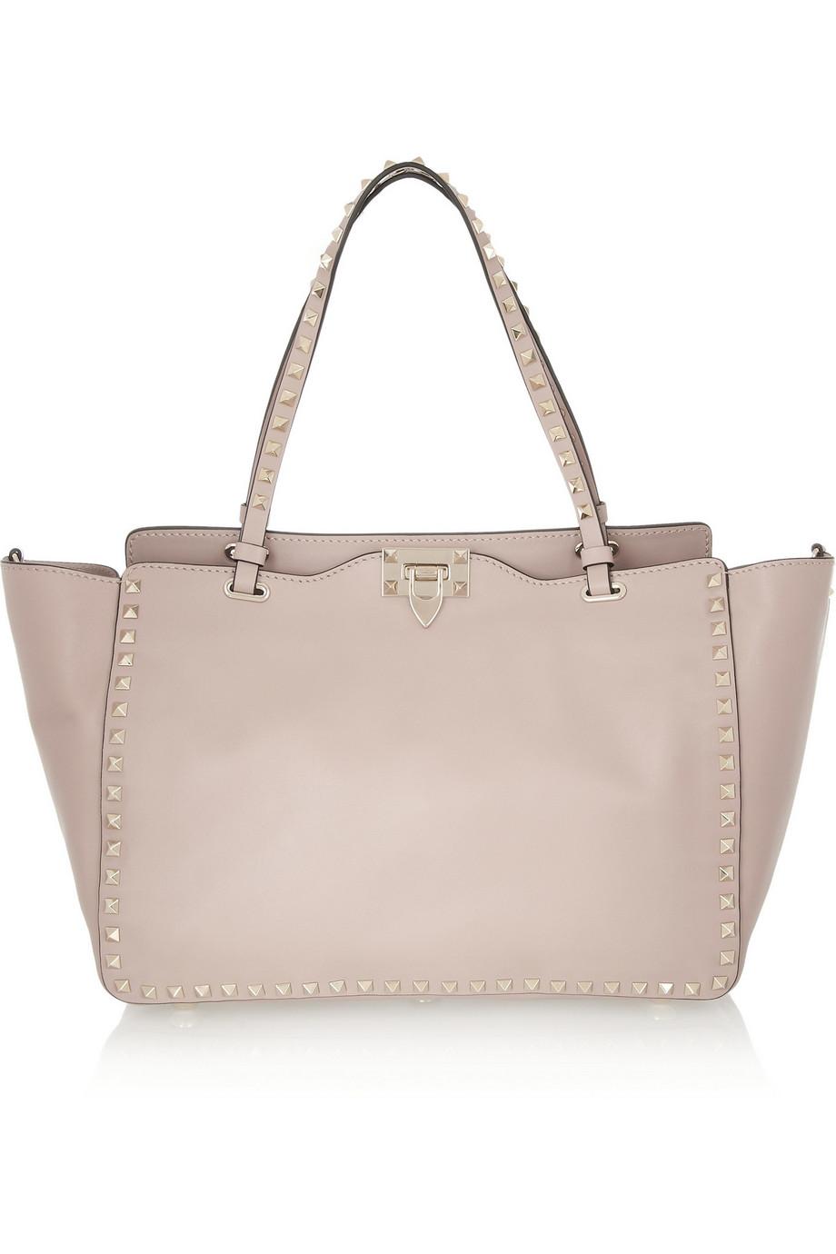 Valentino The Rockstud Medium Leather Trapeze Bag, Blush, Women's