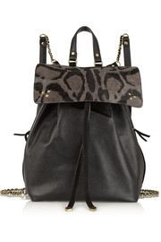 Florent textured-leather and leopard-print calf hair backpack