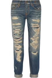 Distressed mid-rise boyfriend jeans