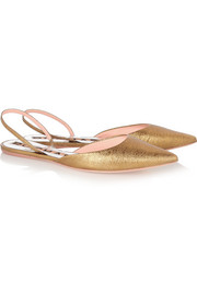 Rochas Metallic textured-leather point-toe flats
