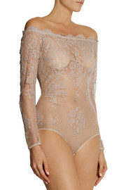 I.D. Sarrieri La Robe Noire Chantilly lace-appliquéd tulle bodysuit