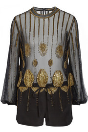 Sass & bide Zero In embellished tulle and faille playsuit