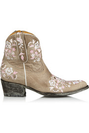 Sora embroidered distressed leather ankle boots