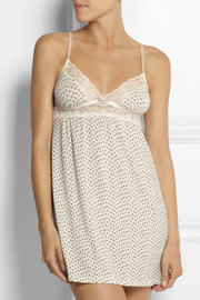 Purr printed stretch-jersey chemise