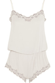 Lady Godiva lace-trimmed jersey playsuit