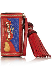 Anya Hindmarch Digestives printed elaphe and leather clutch
