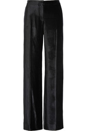 Linen-trimmed velvet wide-leg pants