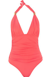 Menorca ruched halterneck swimsuit