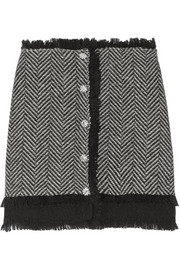 Ryan Lo Embellished alpaca and wool-blend mini skirt
