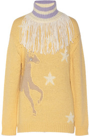 Embellished horse-intarsia mohair-blend sweater