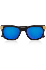 Cutler and Gross D-frame acetate mirrored sunglasses