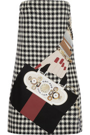 Holly Fulton Appliquéd houndstooth wool mini dress
