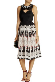 Holly Fulton Embellished wool and printed silk crepe de chine dress