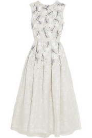 Holly Fulton Embellished printed silk and organza dress