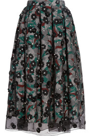 Holly Fulton Embellished silk-organza and crepe de chine skirt