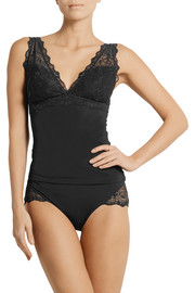 Marine lace-paneled stretch camisole