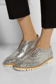 Finds + L' F Shoes Gipsy Ilga glitter-finished textured-leather brogues