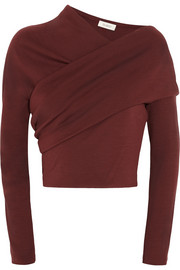 Isa Arfen Asymmetric wool-jersey top