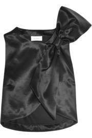 Isa Arfen Bow-embellished wool and silk-blend top