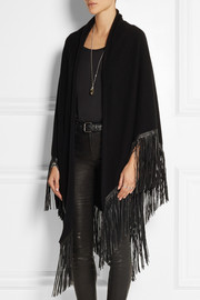 Finds + Barbajada leather-fringed cashmere shawl