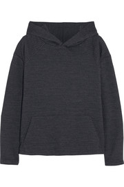 Stretch-knit jacquard hooded sweater