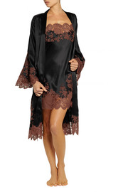 Carine Gilson Julia lace-trimmed silk-satin robe
