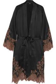 Julia lace-trimmed silk-satin robe