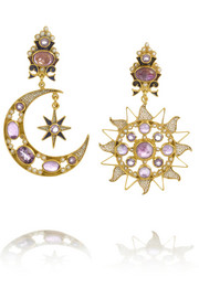 Percossi Papi Diego Sun and Moon gold-plated amethyst earrings