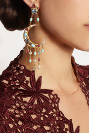 Percossi Papi Diego Sun and Moon gold-plated multi-stone earrings