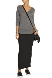 James Perse Ribbed cotton and cashmere-blend maxi skirt