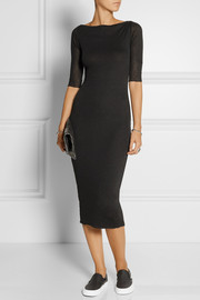 James Perse Ribbed cotton and cashmere-blend midi dress