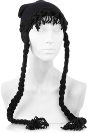 Anna Sui + James Coviello braid-trimmed knitted hat