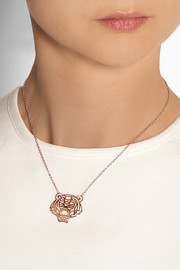 KENZO Tiger rose gold-plated cubic zirconia necklace