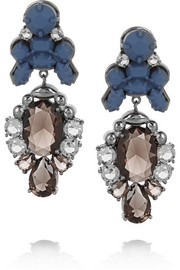 Ek Thongprasert Royale rhodium-plated, crystal and silicone earrings