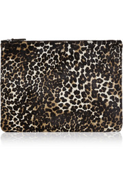 The Case Factory Leopard-print calf hair pouch
