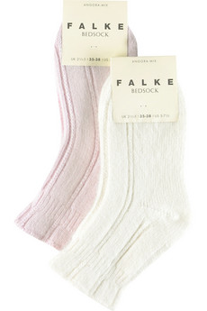 Falke Twin pack of white and pink angora-blend bedsocks